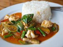 泰国咖喱的海鲜 库存照片