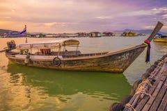 泰国土地小船晚上 库存照片