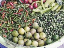 泰国土气样式新鲜的烹调成份辣椒柠檬辣椒粉蕃茄土耳其莓果 库存图片