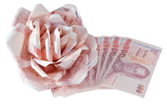 泰国在白色backgr隔绝的钞票价格的一百 图库摄影