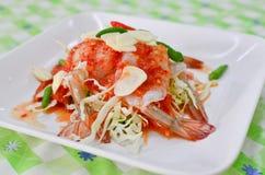 泰国在辣调味汁的样式未加工的大虾 免版税图库摄影