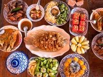 泰国地方食物,顶视图02 免版税图库摄影