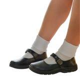 泰国女小学生的鞋子隔离 免版税库存图片