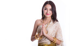 泰国妇女欢迎 库存照片