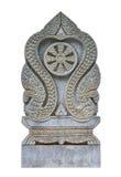 泰国寺庙双重平板机场标志板石头,被隔绝 库存图片