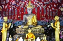 泰国寺庙的菩萨Wat亚伊Chaimongkol阿尤特拉利夫雷斯 库存照片