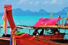 泰国小红色小船游览 免版税图库摄影