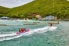 泰国小船海天空海滩 库存图片