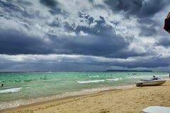 泰国小船海天空海滩 库存照片