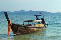 泰国小船的长尾巴 免版税库存图片