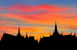 泰国屋顶的剪影 图库摄影