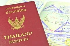 泰国护照和移民邮票 免版税库存图片