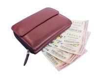 泰国抽奖券和钱包 免版税库存照片