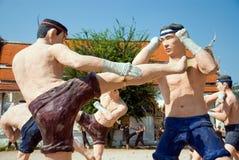 泰国拳击的雕象 库存照片