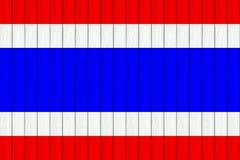 泰国旗子的两次曝光在白色木背景 库存图片