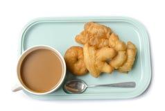 泰国早餐吃patongko咖啡 免版税库存照片