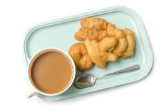 泰国早餐吃patongko咖啡 库存照片