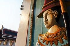 泰国木雕塑战士 库存图片