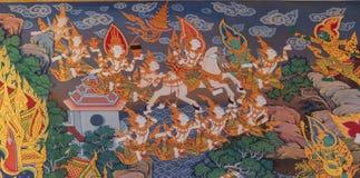 泰国样式壁画:siddhartha从城堡的gautama逃命 免版税库存照片