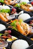 泰国样式海鲜午餐盒 免版税库存图片