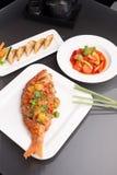 泰国样式海鲜饭食 免版税库存照片