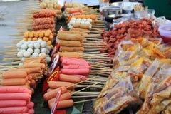 泰国样式肉丸和香肠 免版税库存照片