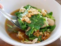 泰国样式菜炖煮的食物猪肉汤Gaw老挝人Moo大桶 免版税库存照片