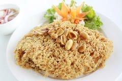 泰国样式酥脆被油炸的鲶鱼沙拉 图库摄影