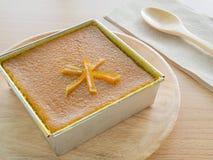 泰国椰子乳蛋糕正方形, Khanom鱼鳔Kaeng,泰国传统点心 免版税图库摄影