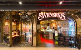泰国模范购物中心的,曼谷Swensens餐馆 库存照片