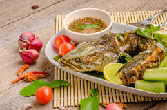 泰国油煎的鱼用辣的辣椒 免版税库存图片
