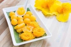 泰国泰国甜点或者的Khanom是两传统泰国的甜点黄 免版税图库摄影