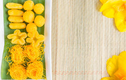 泰国泰国甜点或者的Khanom是两传统泰国的甜点黄 图库摄影