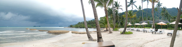 泰国海滩的全景 免版税库存照片