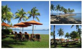 泰国海滩睡椅的手段 库存图片