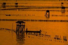泰国渔夫村庄在Bangtaboon 库存图片