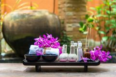 泰国温泉治疗芳香疗法盐和糖洗刷并且晃动与兰花花的按摩 免版税库存图片