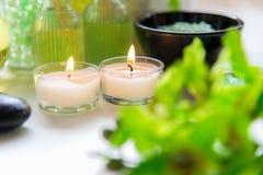 泰国温泉治疗芳香疗法盐和自然绿色糖洗刷并且晃动与绿色兰花的按摩 库存照片