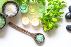 泰国温泉治疗芳香疗法盐和自然绿色糖洗刷并且晃动与绿色兰花花的按摩在木白色机智 库存照片