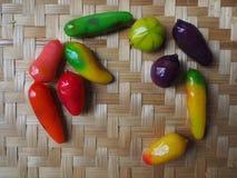 泰国点心,泰国甜点,然后被铸造入小五颜六色的果子 免版税图库摄影