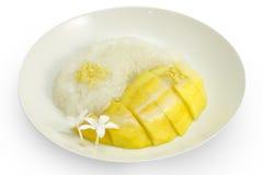 泰国点心,芒果用黏米饭 库存照片