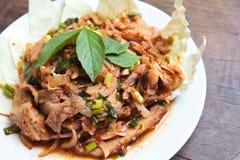 泰国烹调辣猪肉沙拉。 免版税库存图片