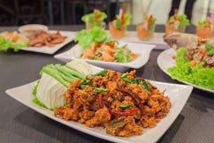 泰国烹调辣酥脆猪肉沙拉 库存图片