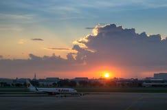 泰国狮航停放在廊曼国际机场 免版税库存图片