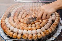 泰国猪肉混合米香肠(Sai Krawk E圣) 免版税库存图片