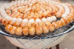 泰国猪肉混合米香肠(Sai Krawk E圣) 图库摄影