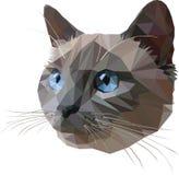 泰国猫蓝色针对性的样式,三角样式 向量例证