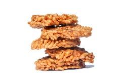 泰国甜酥脆米薄脆饼干 免版税库存照片
