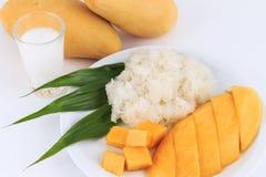 泰国甜黏米饭用芒果 椰子点心芒果牛奶螺母倾吐米样式甜泰国热带 免版税库存照片