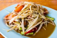 泰国番木瓜沙拉热和辣混杂从菜品种 免版税库存图片